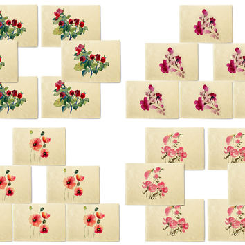 Floral Designs Printed Canvas Placemats Set of 6
