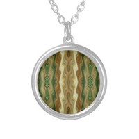 Abstract Vertical Striped Pattern Personalized Necklace