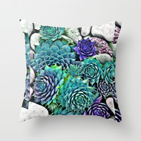 succulents Throw Pillow by Sara Eshak