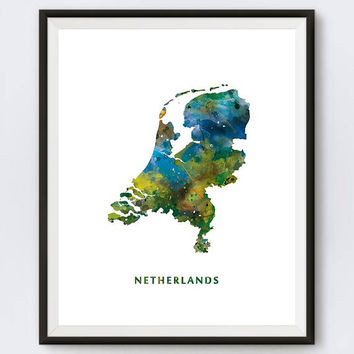 Netherlands Map Print, Watercolor, Amsterdam Print, Wall Art, Green, Holland, Dutch Poster, Painting, Travel, Home Decor, Gift, Download