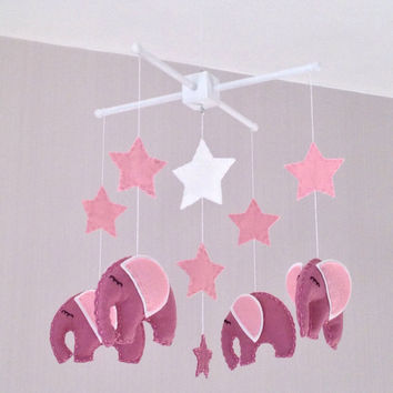 Baby Mobile - Cot Mobile - Elephant mobile - pink elephants - Nursery Decor - Baby girl Mobile - Pink baby mobile