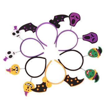 6Pcs Halloween Headband Skull Bat Wings Pumpkin Devil Witch Hairband Hair Loop Hair Accessories for Party Costume Cosplay