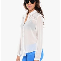 White Dreamy Lace And Chiffon Button Up Top | $10.00 | Cheap Trendy Blouses Chic Discount Fashion fo