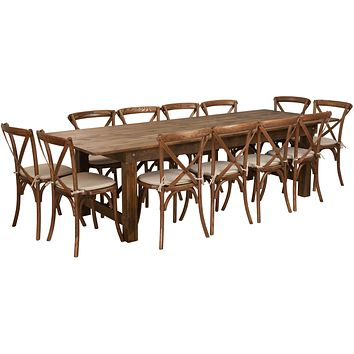 HERCULES Series 9' x 40'' Folding Farm Table Set with 12 Cross Back Chairs and Cushions