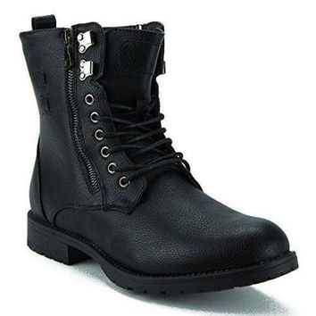 DCK7YE New Men's Shahin-04 Fur Lined Zipped Combat Boots