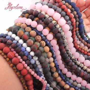 "Quartz Agates Jaspers Matte Frost Round Natural Stone Beads Loose 15"" For DIY Necklace Bracelets Jewelry Making,Free Shipping"