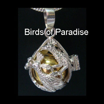 Harmony Ball Necklace with Two (2) Exquisite Sterling Silver 'Birds of Paradise' as the hinged cage & Brass chime ball | Pregnancy Gift 293