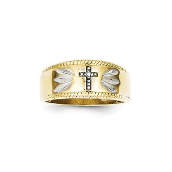 10k Yellow Gold Diamond Trio Men's Cross Wedding Band Ring - Religious Jewelry