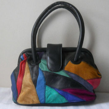 Leather Patchwork Bag Patchwork Purse 90s Patchwork Bag 90s Purse Patchwork Handbag Hot Pink Purse 90s Purse Leather Hand Bag Casual Purse