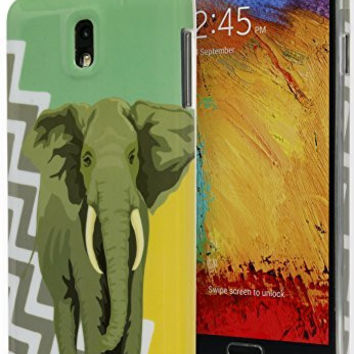 Samsung Galaxy Note 3 Antique Green Yellow Chevron with Elephant TPU Case