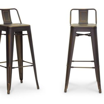 Baxton Studio French Industrial Modern Bar Stool in Antique Copper  Set of 2