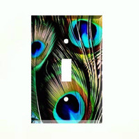 Peacock Feathers Single Light Switch Plate Wall Cover Room Decor