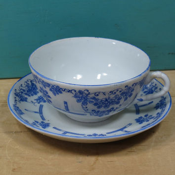 Vintage Tea Cup & Saucer Blue and White China • Made in Japan Circa 1920s • Beautiful Design Very Old Porcelain