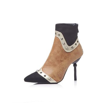 Pointed Toe Color Block Studded Ankle Boots Stiletto Heel Shoes 4879