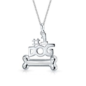 Puppy Bone Number One Dog Necklace Best Friend 925 Sterling Silver