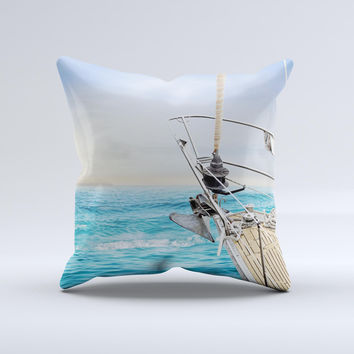 Vibrant Ocean View From Ship ink-Fuzed Decorative Throw Pillow