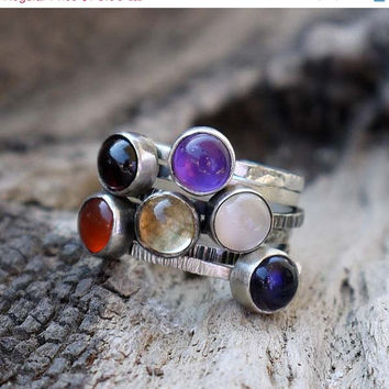 ON SALE Skinny stacking rings bezel - Choose any 3 rings - Multicolor rings set of 3 - Birthstone Ring,Mothers Ring, Birthstone Jewelry,