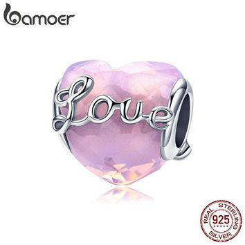 BAMOER Genuine 925 Sterling Silver Love Heart Pink CZ Crystal Beads Fit Charm Bracelets Beads Jewelry Valentines Gift SCC1025