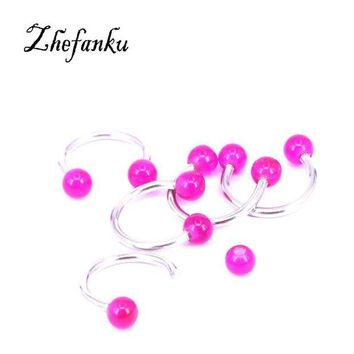ac DCCKO2Q 1 Pc Glow In Dark Ball Piercing Nose Ring Ball Horseshoe Circular Ring Labret Hoops Luminous Nose Eyebrow Piercing