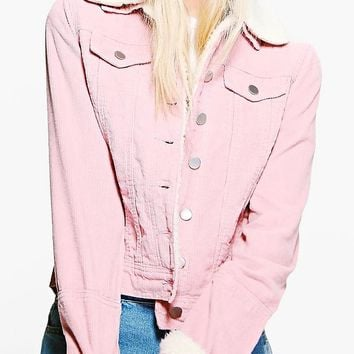 Sally Slim Fit Borg Collar Cord Jacket | Boohoo