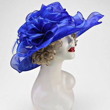 Kentucky Derby Church Wedding Tea Party Royal Blue Wide Brimmed Layered Ribbon Lace Bow Feather Organza Hat
