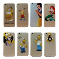 Cute Design Case Cover For Apple iPhone 4 4S 5 5S SE 5C 6 6S Plus Princess Snow White Mermaid Eat LOGO Shell Coque