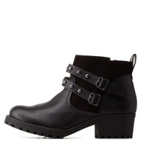 Belted Lug Sole Ankle Booties