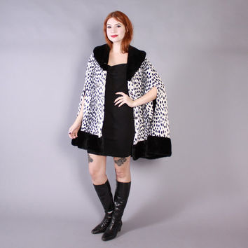Vintage 60s Faux Fur CAPE / 1960s Black & White Animal Print Snow Leopard Beltable Coat
