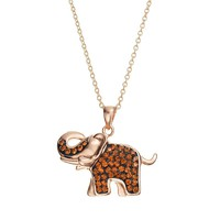 Crystal 14k Rose Gold Over Silver-Plated Elephant Pendant Necklace (White)