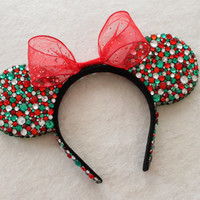 Holiday Red, Green, & Clear Rhinestone Minnie Mouse Ears - READY TO SHIP