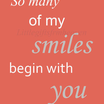 So many of my smiles quote- digital file, so many smiles, begin with you, nursery wall art, coral baby room, DIY nursery wall art, printable