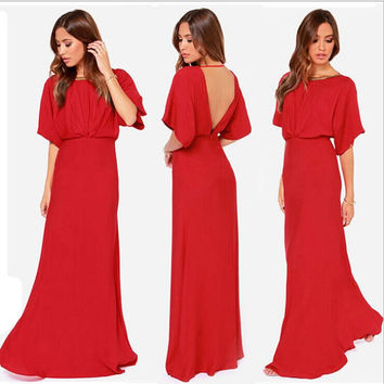 Fold Backless Empire Short Sleeve Long Party Dress