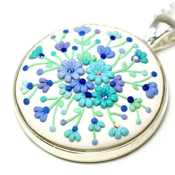 "Mint Purple White Floral Pendant Necklace ""Winter"" with Floral Embroidery One of a Kind Jewelry Delicate Earrings Polymer Clay Applique"