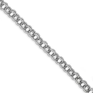 Sterling Silver 7.5 Inch Polished Rhodium Plated Textured Circle Link Bracelet
