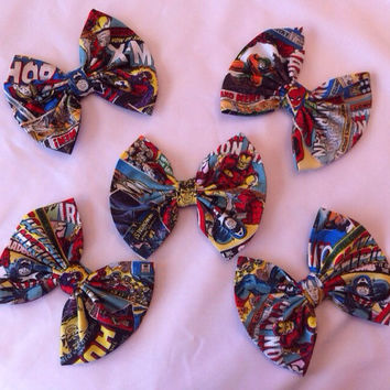 Pack of 5: Marvel Avengers Large Fabric Hair Bows, Superhero, Comics, Thor, Iron Man, Captain America, Hulk, X-Men, Comic Book, Spiderman