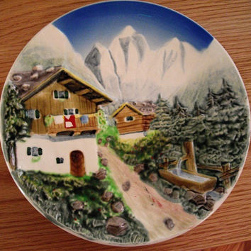 Vintage German Hand Painted Plate, Folk Art, 1940s, ready to hang