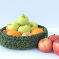 Catchall tray, large crochet basket, nightstand organizer, fruit basket, entryway organizer, mail and key holder, dining table decor, green