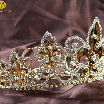 Imperial Medieval Tiara Diadem Full Round Circle Gold Crown Clear Crystal for Men Pageant Party Costumes Hair Accessories