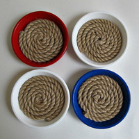 Red, White and Blue Rope Coasters - Nautical Terra Cotta Clay Saucer Coasters - July 4th, Independence Day, Summer Home Decor