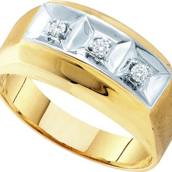 10kt Yellow Gold Mens Round Diamond 3-stone Two-tone Wedding Band Ring 1/10 Cttw
