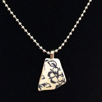 Tumbled Sea Pottery Necklace Pendant / One Of A Kind / Navy Blue Cream White Sterling Silver Ball Chain / The Salt Doll