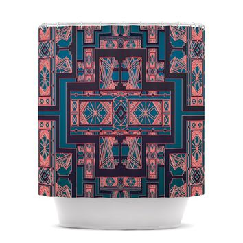 "Nika Martinez ""Golden Art Deco Blue & Coral"" Shower Curtain"