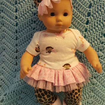 """Baby Doll Clothes """"Many Mini Monkey"""" 15 inch doll outfit Will fit Bitty Baby® Bitty Twins®  dress, leggings, socks, headband C12"""