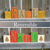 Fall Decor, Christmas Decor, Rustic Fall Wood Blocks, Rustic Noel Wood Blocks, Rustic Fall Wood Decor