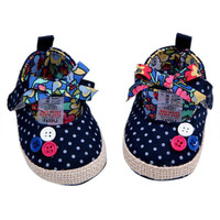 0-12M Chinese Style Baby Girls Cozy Polka Dots Floral Soft Cotton Cloth Bowknot Casual Shoes 4 Styles
