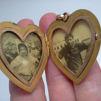 Jewelry & Watches Vintage Gold Filled Heart Locket With Tiny Diamond Vintage & Antique Jewelry In Original Box