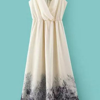 White V-Neck Tree Print Pleated Maxi Dress