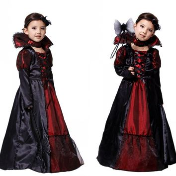 Vampire Princess Children Costume Evil Queen Snow White Kid Party Dress Performance Cosplay Cloth Halloween Costumes for Girl