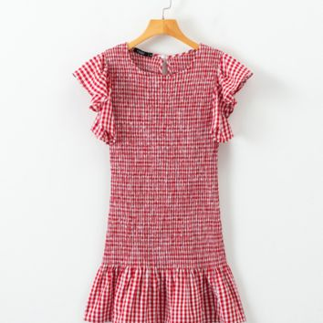 French retro ruffled stretch dress