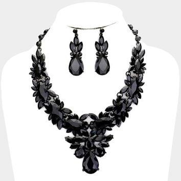 Teardrop Crystal Glass Marquise Stone Cluster Necklace